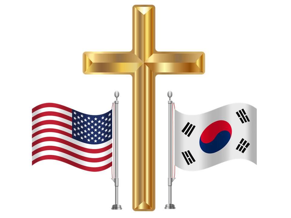 USA Korea Flags Golden Cross